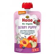 """Holle, BIO ābolu un persiku biezenis ar meža ogām """"Berry Puppy"""" no 8 mēn., 100g"""