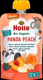 """Holle, BIO persiku, aprikožu, banānu biezenis ar plēkšņu kviešiem """"Panda Peach"""", no 8mēn. 100g"""