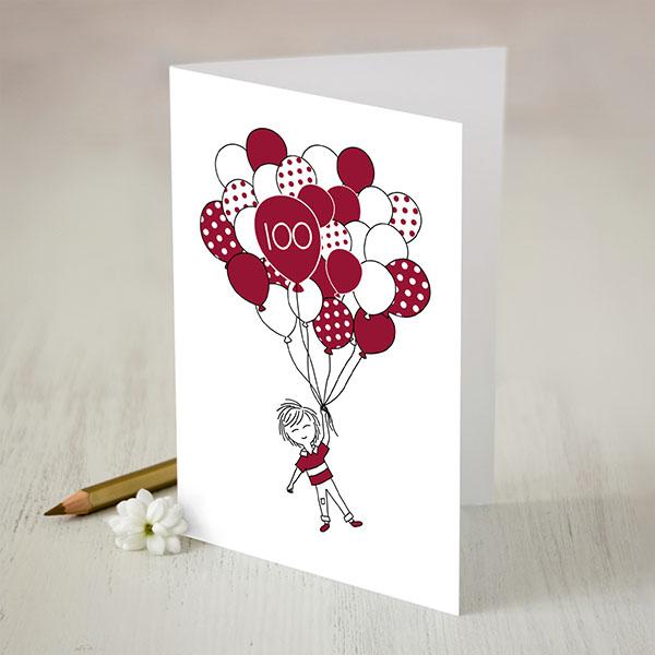 Krāsaina apsveikuma kartiņa ar puikas un baloni zīmējumu