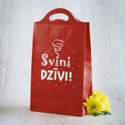 Dāvanu maisiņš, 210x375x100mm, ar tekstu - Svini dzīvi