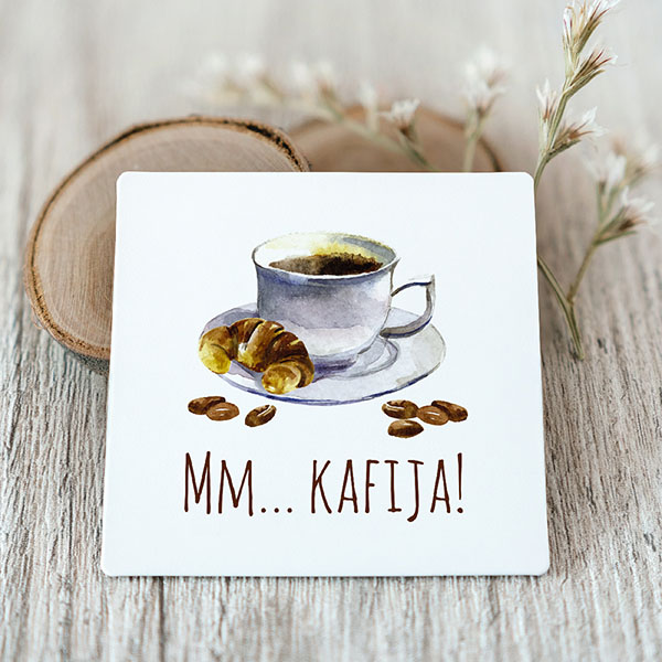 Vinila magnēts ar kafiju ar tekstu Mm.. kafija!