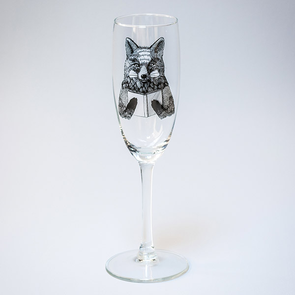 Šmapanieša glāze ar lapsas zīmējumu