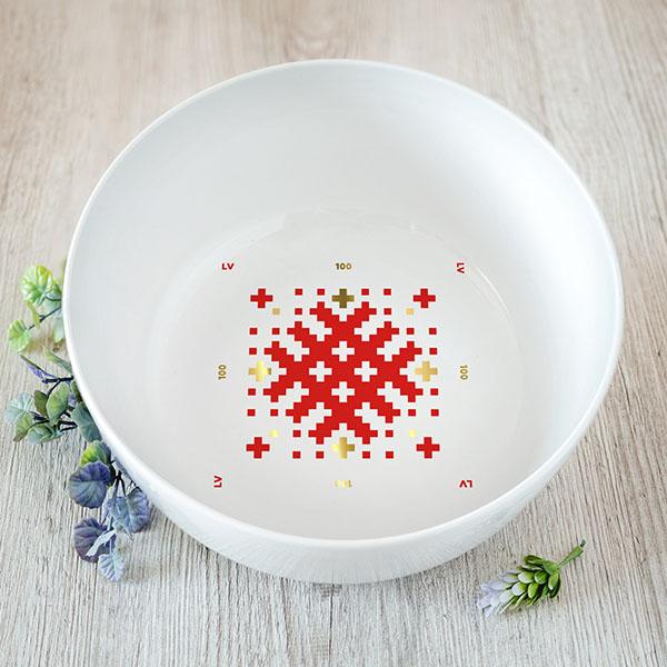Balta lielā bļoda ar sarkanu un zelta Latvijas ornamentu