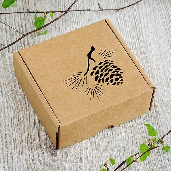 Maza dāvanu kaste ar lāzergrieztu čiekuru