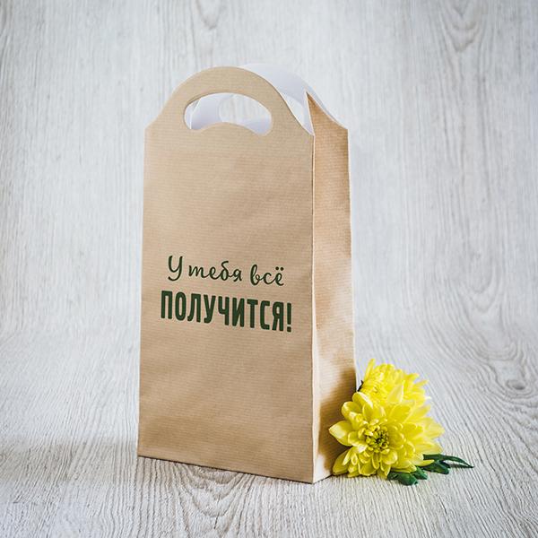 Gaišs dāvanu maisiņš ar zaļu apdruku ar tekstu krievu valodā Tev viss izdosies