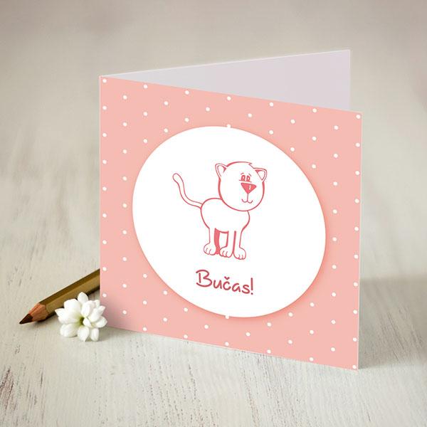 Atverama kartīte rozīgākrāsā ar baltu apdruku ar kaķi