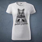 Sieviešu t-krekls, gaiši pelēks, ar attēlotu lapsu, kas tur rokās grāmatu un tekstu - Ko tu gudram padarīsi