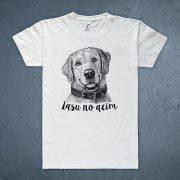 vīriešu t krekls baltā krāsā ar suni un tekstu lasu no acīm