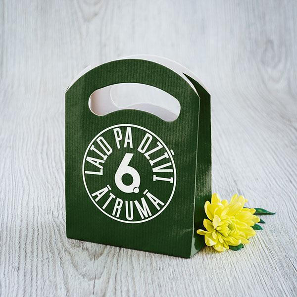 """Zaļš dāvanu maisiņš ar tekstu: """"Laid pa dzīvi 6.ātrumā"""""""
