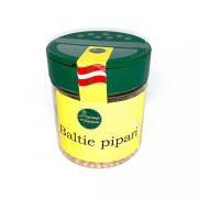 Garšaugu maisijums- baltie pipari, caurspīdīgā iepakojumā ar dzeltenu etiķei, 50g.