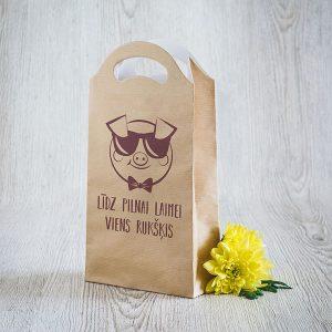 """Dāvanu maisiņš ar tekstu: """"Līdz pilnai laimei viens rukšķis"""""""