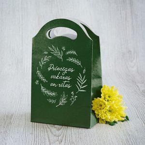 Dāvanu maisiņš , 245x150x92mm, ar tekstu - Priecīgus rītus un vakarus
