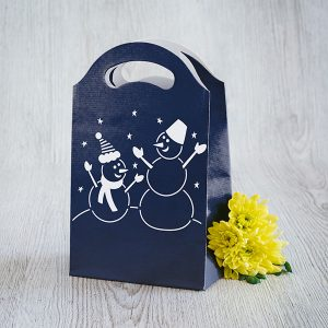 Dāvanu maisiņš, 245x150x92mm, ar sniegavīru zīmējumu