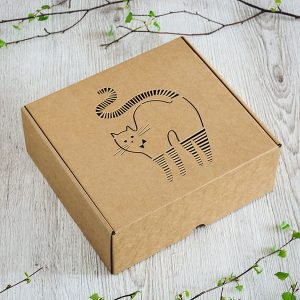 Kartona kaste ar lāzergravētu strīpaina kaķa zīmējumu.