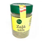 Garšaugu maisijums-zaļā sāls, caurspīdīgā iepakojumā ar dzeltenu etiķei, 150g.