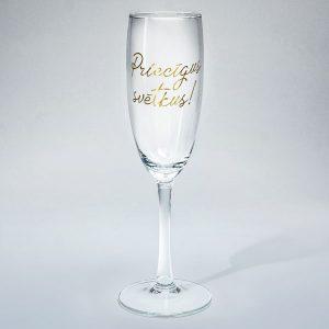 Dadzis šampanieša glāze ar uzrakstu priecīgus svētkus zelta krāsā