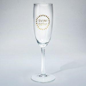 Dadzis šampanieša glāze ar uzrakstu svini dzīvi zelta krāsā