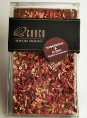 Choco šokolāde, Piena šokolādes tāfelīte ar avenēm un rabarberiem, 120g