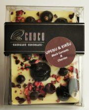 Choco šokolāde, Baltās šokolādes tāfelīte ar upenēm un ķiršiem, 60g
