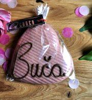 "Choco šokolāde, Rozā šokolādes sirds ar uzrakstu ""Buča"", 60g"