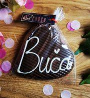 """Choco šokolāde, Tumšās šokolādes sirds ar uzrakstu """"Buča"""", 60g"""