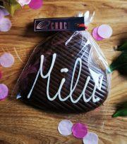 """Choco šokolāde, Tumšās šokolādes sirds ar uzrakstu """"Mīlu"""", 60g"""