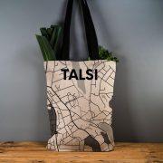 """Latvijas Tekstils, lina maisiņš """"Tukums - ielu raksti"""", uz pelēka fona, 35x40cm"""