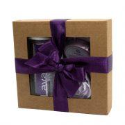 """Steina products, dāvanu komplekts """"Lavanda"""" ar aromatizētājiem brūnā kastītē ar lillā lenti"""