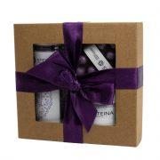 """Steina products, dāvanu komplekts """"Lavanda"""" ar dušas zefīru brūnā kastītē ar lillā lentu"""