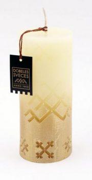 Dobeles sveces, bēša svece cilindra formā ar Jumi