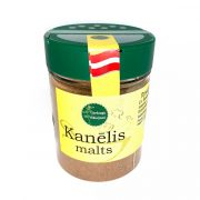 Garšaugu maisijumi, kanēlis malts, caurspīdgā iepakojumā ar dzeltenu etiķeti, 70g.