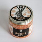 greipfrūtu vannas sāls ar attēlotu zaķi