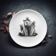 dadzis vidējais šķīvis divdesmit četri centimetri ar lāču papu un lācēniem