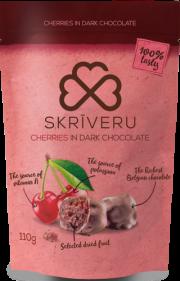 Skrīveru saldumi, ķirši tumšajā šokolādē, 110g