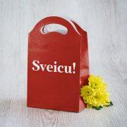 Dāvanu maisiņš, 245x150x92mm, ar tekstu - Sveicu