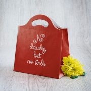 Dāvanu maisiņš, 230x210x100mm, ar tekstu - Ne daudz, bet no sirds