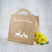 Dāvanu maisiņš, 230x210x100mm, ar briežiem un tekstu - Priecīgus svētkus