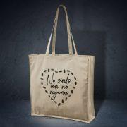 kokvilnas auduma soma bēšā krāsā ar attēlotu tekstu no sirds un rajona
