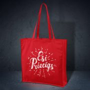 kokvilnas auduma soma sarkanā krāsā ar attēlotu tekstu esi priecīgs