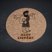 Korķa paliktnis, mazais, ar attēlotu alu cilvēku un tekstu - Alus cilvēks