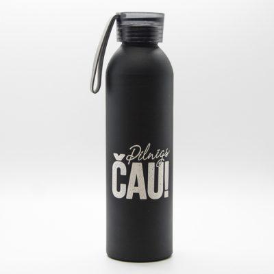 Alumīnija pudele, dadzis, 660ml, melnā krāsā, ar attēlotu tekstu - Pilnīgs ČAU
