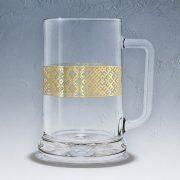 Alus kauss, daba, 500ml, ar attēlotu Lielvārdes joslu zelta krāsā