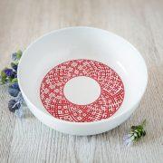 Balta bļoda DABA ar attēlotu sarkanu Lielvārdes jostu-1100ml