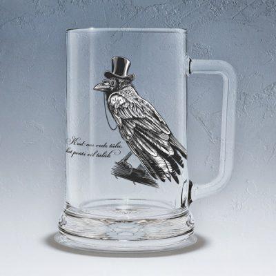 Stikla alus kauss, dadzis, 500ml, ar attēlotu Kraukli un tekstu - Kad acs redz tālu, bet prāts vēl tālāk