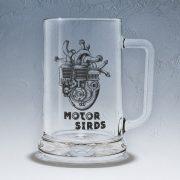 Alus kauss, stikla, 500ml, ar attēlotu motorsirdi un tekstu - Motorsirds