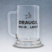 Stikla alus kauss, 500ml, Uzraksts uz aluskausa: Draugi nu ir labi. Ražotājs: Dadzis