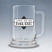 Stikla alus kauss, dadzis, 500ml, ar attēlotu tekstu - Laba vajag daudz