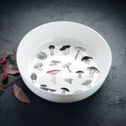 Balta bļoda DADZIS ar krāsainu sēņu attēlu-1100ml
