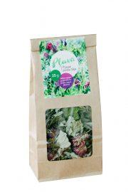 Tēja Pļavā, pļavas ziedu tēja (bērzu lapas, piparmētras, aveņu lapas, āboliņš), 25g