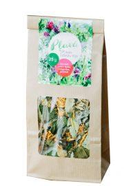 Tēja Pļavā, pļavas ziedu tēja (liepu ziedi, aveņu lapas, kliņģerītes, gaiļbikši), 25g